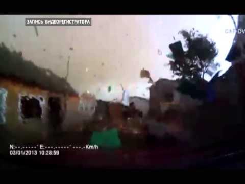 Ураган в Башкирии. Видео с авторегистратора