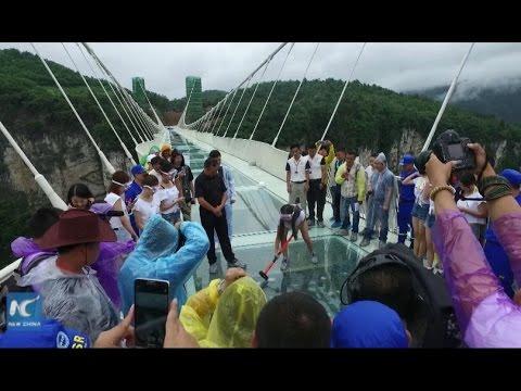 Страшно смешные туристы на умопомрачительном стеклянном мосту в Китае - необычное, народ, OMG-WTF