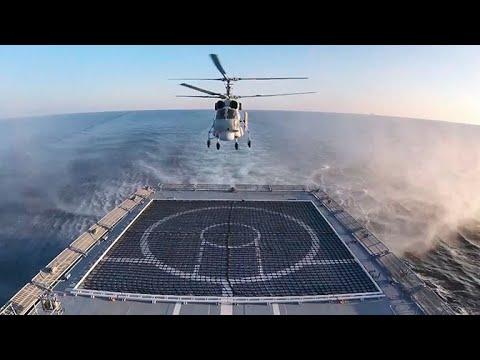 Кадры взлетов и посадок вертолета Ка-27 на палубу «Адмирала Григоровича»