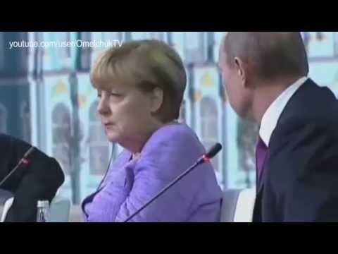 """Реакция Меркель на """"юмор"""" Путина   Merkel's reaction on Putin's """"humor"""""""