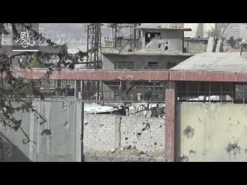 فيلق الرحمن - استهداف بناء يتحصن فيه قوات الأسد على جبهة عربين بمدفع عمر المحلي الصنع